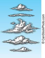 задавать, clouds, ретро, (vector)