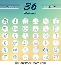 задавать, icons, здоровье, тонкий, лекарственное средство, забота