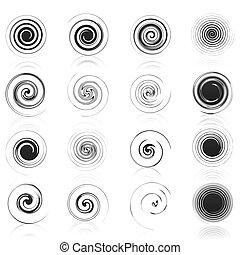задавать, icons, иллюстрация, spirals., вектор, черный