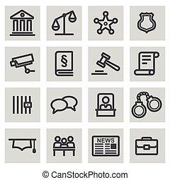 задавать, icons, справедливость, вектор, черный, линия