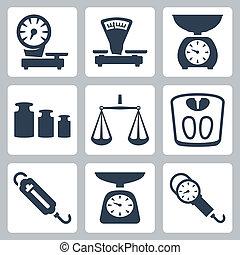 задавать, icons, scales, isolated, вектор, баланс