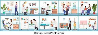 задавать, illustrations, больница, services., врач, обеспечение, около, за работой, patients, медицинская