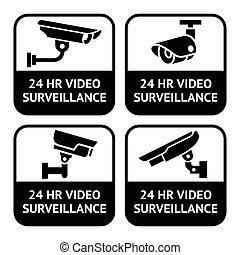 задавать, pictogram, cctv, символ, labels, камера, безопасность