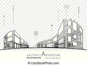 задний план, абстрактные, архитектурный, здание, дизайн