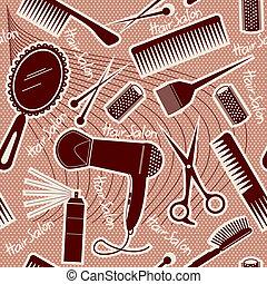 задний план, бесшовный, вектор, оборудование, парикмахерское дело, pattern.