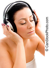 задний план, вверх, музыка, женский пол, белый, enjoying, посмотреть