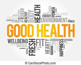 задний план, концепция, слово, хорошо, облако, коллаж, здоровье
