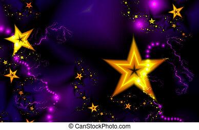 задний план, красивая, число звезд:, золотой, фрактальный, темно, пурпурный, шаблон
