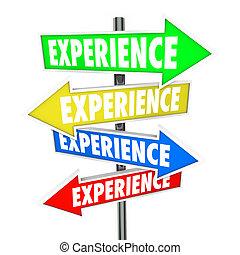 задний план, навыки, опыт, know-how, стрела, знаки, образование