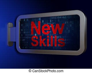 задний план, навыки, learning, рекламный щит, новый, concept: