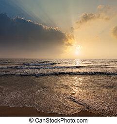 задний план, -, отпуск, океан, тропический, море, восход