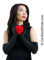 задний план, сердце, isolated, женский пол, белый, красный