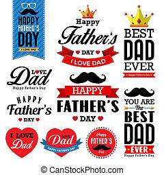 задний план, типографский, счастливый, день, father's