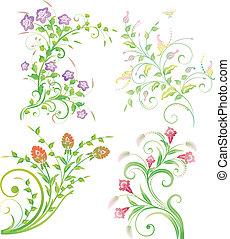 задний план, butterflies, цветочный