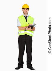 задний план, his, против, notes, куртка, улыбается, безопасность, буфер обмена, белый, принятие, мастер, молодой