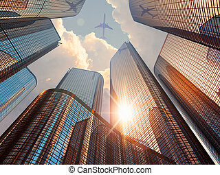 закат солнца, в центре города, район