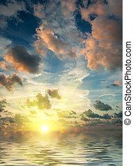 закат солнца, гало, солнечный лучик