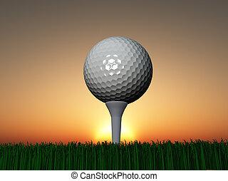закат солнца, гольф, или, восход