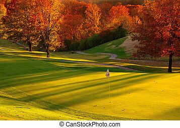 закат солнца, гольф, курс