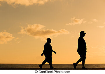 закат солнца, гулять пешком, силуэт, жир, человек