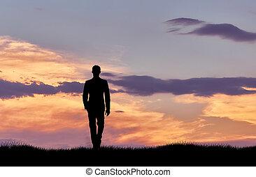 закат солнца, гулять пешком, силуэт, человек