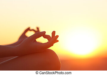 закат солнца, женщина, йога, exercising, руки