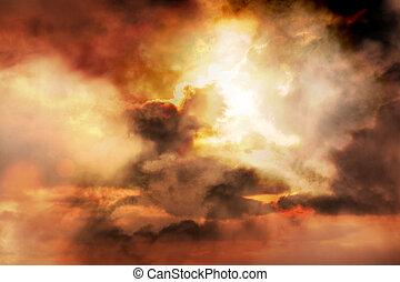 закат солнца, захватывающий, задний план
