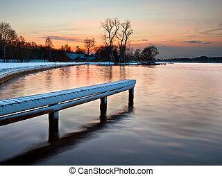 закат солнца, зима, озеро