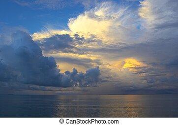 закат солнца, индийский, небо, океан