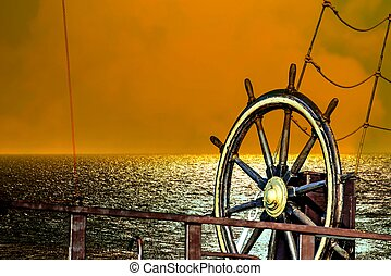 закат солнца, лодка