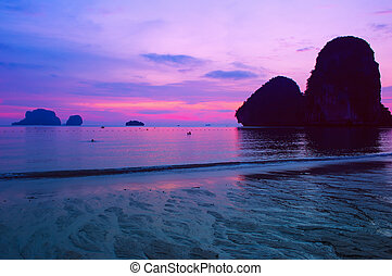 закат солнца, море, пейзаж