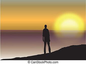 закат солнца, море, человек