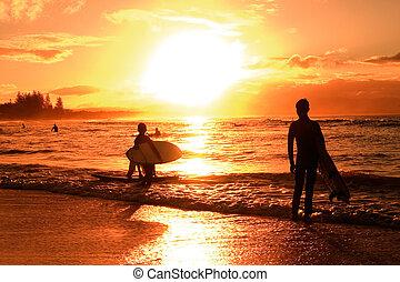 закат солнца, над, пляж