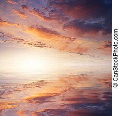 закат солнца, небо, задний план