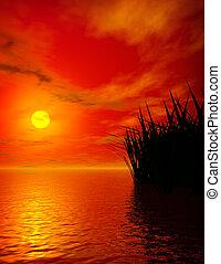 закат солнца, озеро