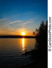 закат солнца, озеро, пейзаж