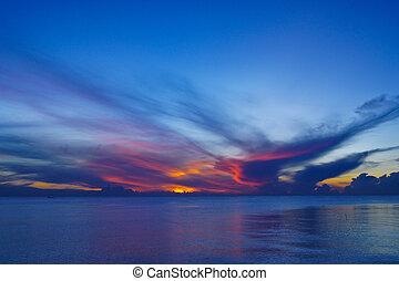 закат солнца, озеро, songkhla, thailand., небо