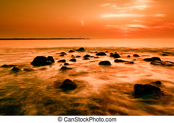 закат солнца, океан