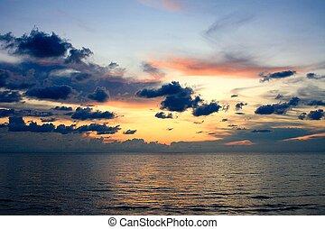 закат солнца, оранжевый, backgro, sky., фото