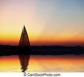закат солнца, парусная лодка