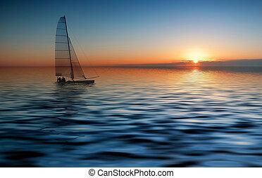 закат солнца, парусный спорт