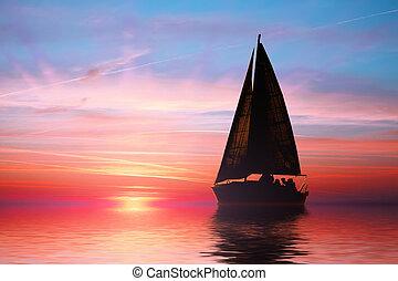 закат солнца, парусный спорт, океан