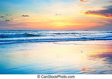 закат солнца, пляж, бали