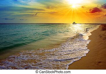 закат солнца, пляж, карибский, sea.
