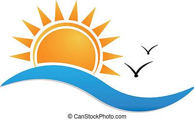 закат солнца, пляж, логотип