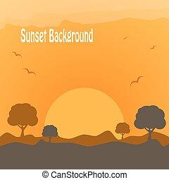 закат солнца, пустыня