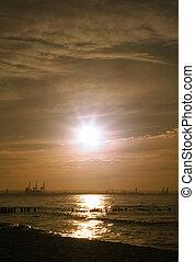 закат солнца, романтический, бухта