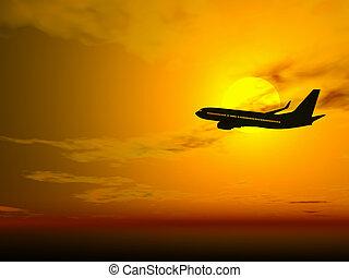 закат солнца, самолет