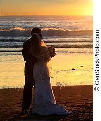 закат солнца, свадьба