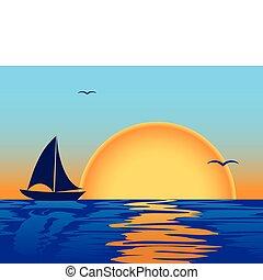 закат солнца, силуэт, море, лодка